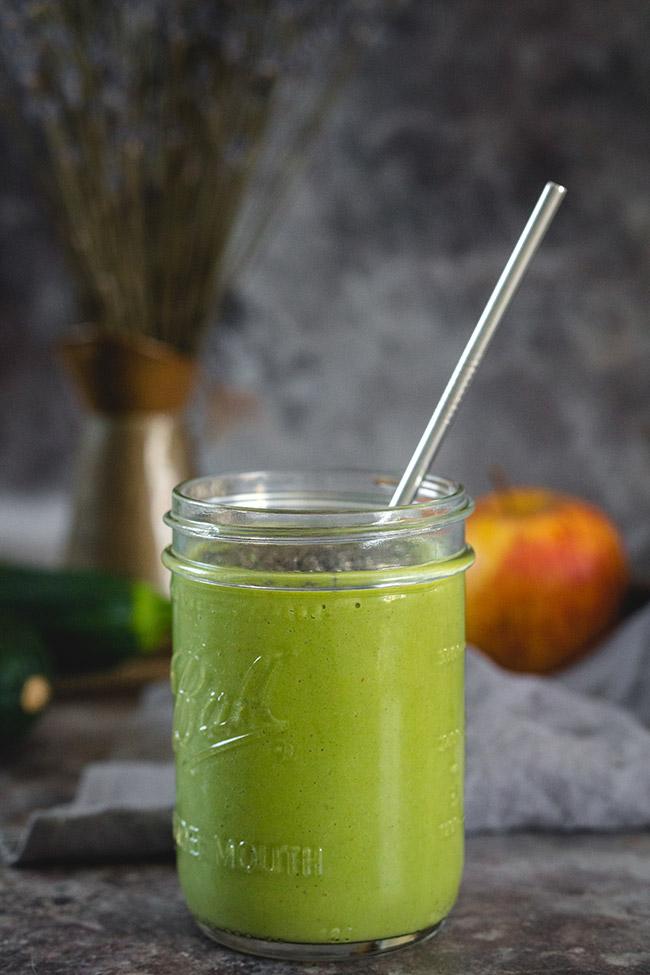 Glass of zucchini smoothie