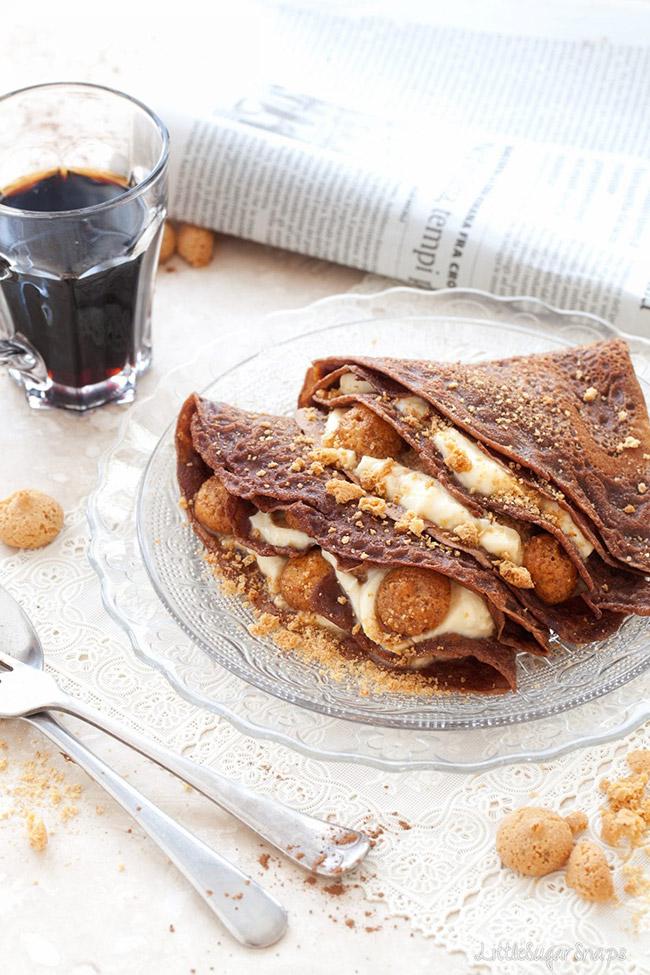 Chocolate Tiramisu Pancakes on a plate