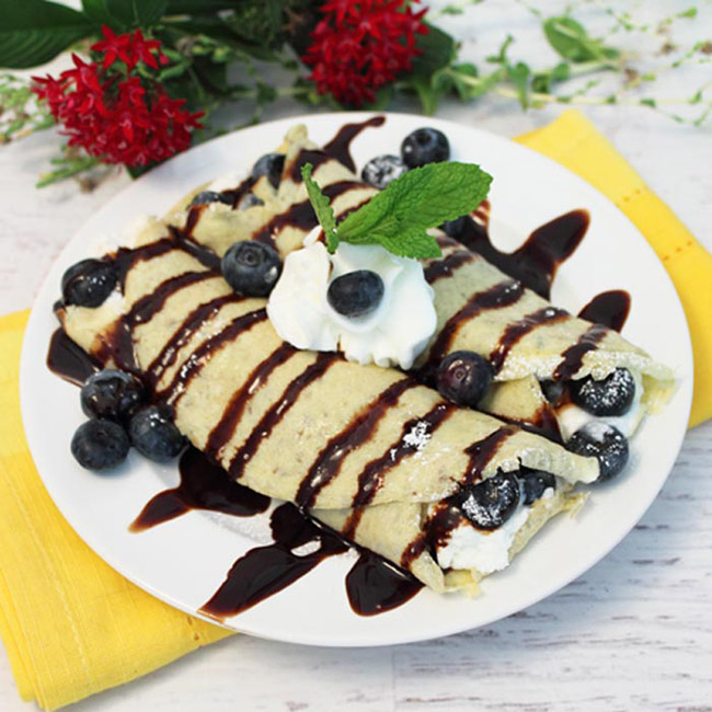 Healthy blueberry crepes