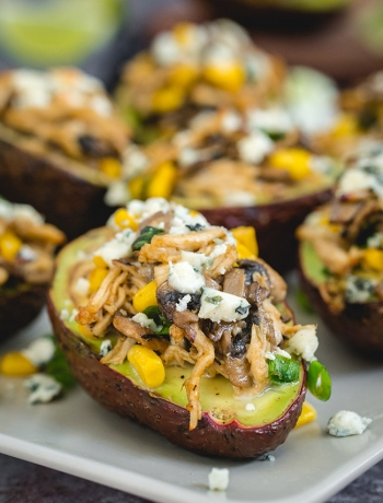 Chicken Stuffed Avocados with Mushrooms & Blue Cheese