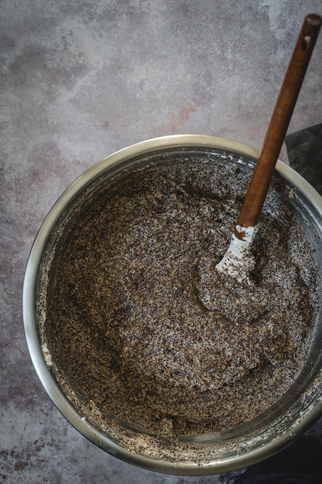 Making the poppy seed cake batter