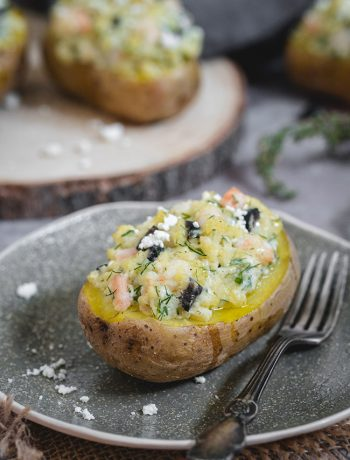Shrimp stuffed baked potatoes