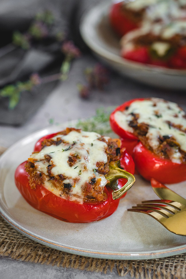 Eating healthy vegetarian stuffed peppers