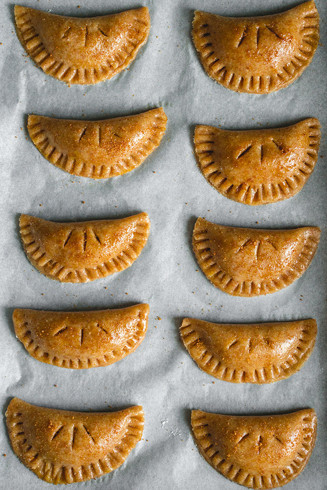 Close-up of baked pumpkin empanadas