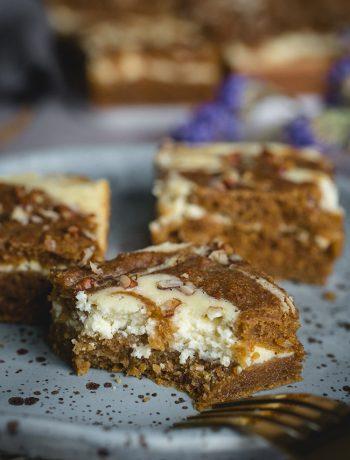 Plate of cheesecake swirled bars