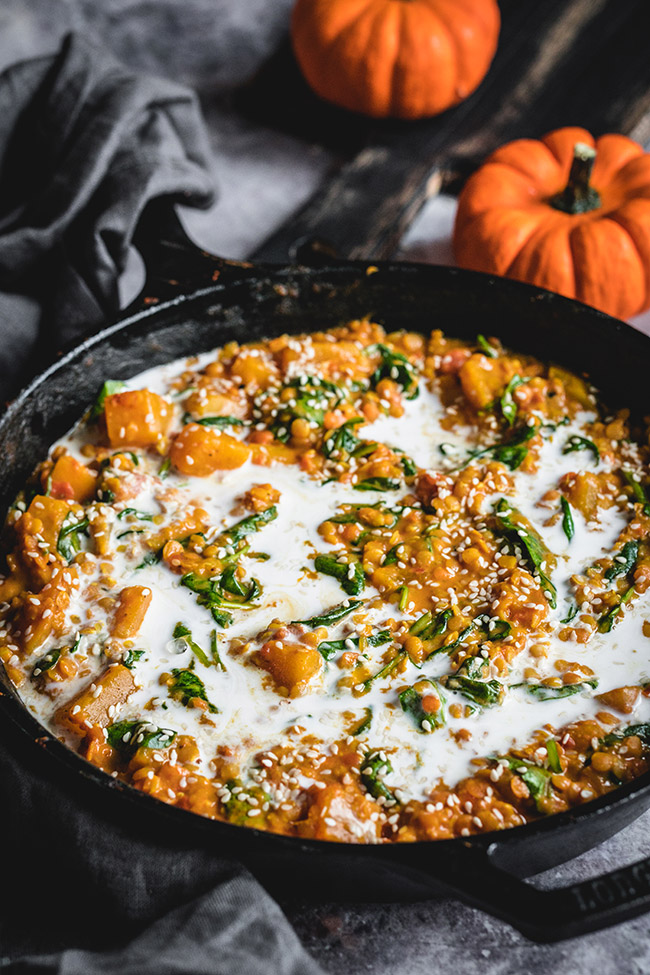 Pan of pumpkin lentil curry