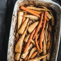 Baking tray of carrots and parsnips