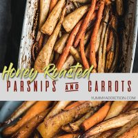 Honey roasted parsnips and carrots pin