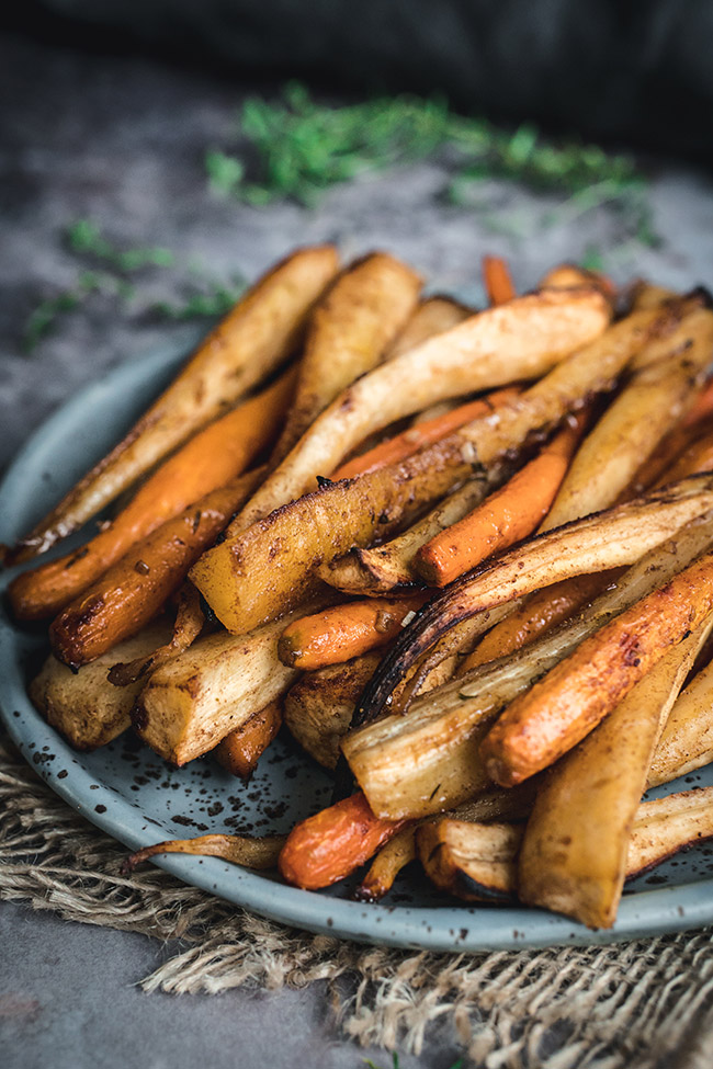 Plate of honey roasted parsnips and carrots
