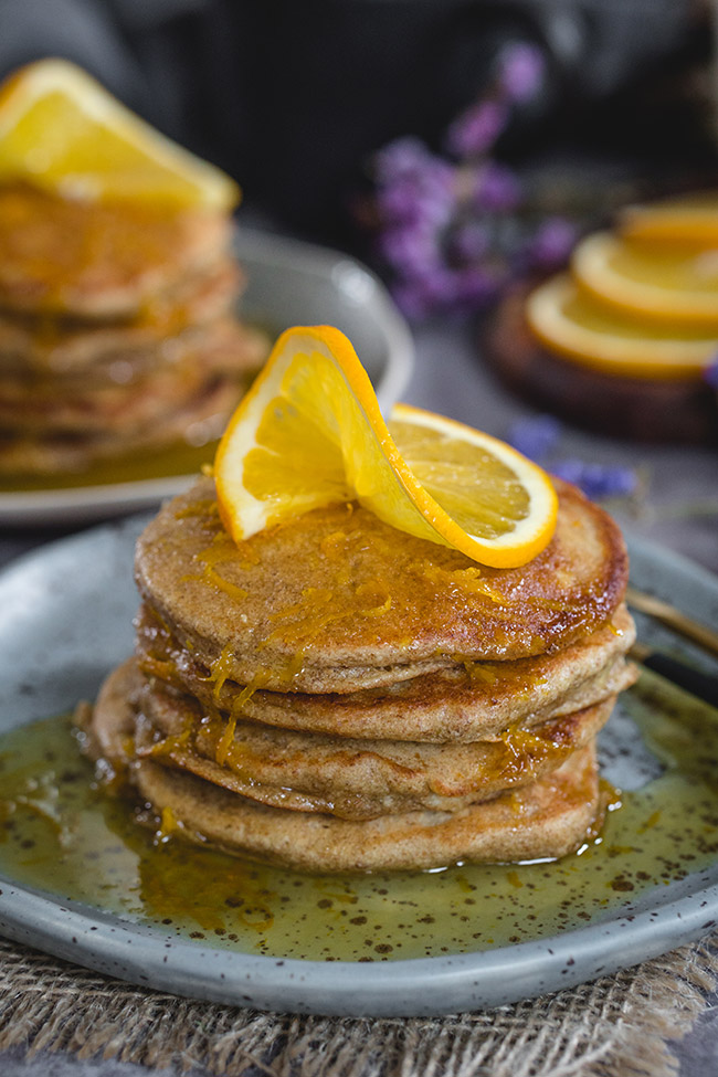 A stack of healthy orange pancakes