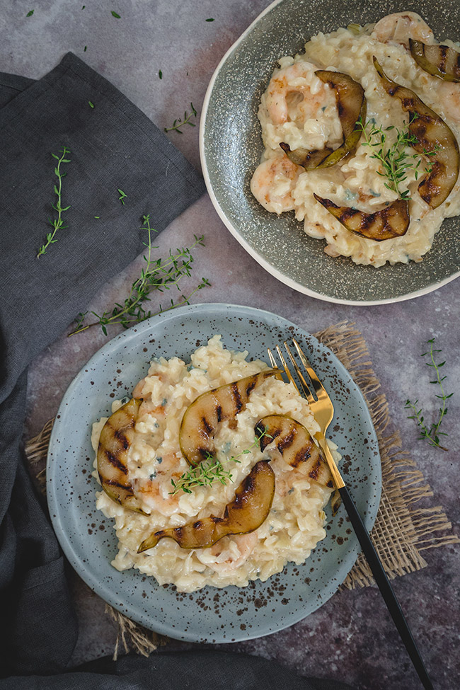 2 bowls of caramelised pear risotto