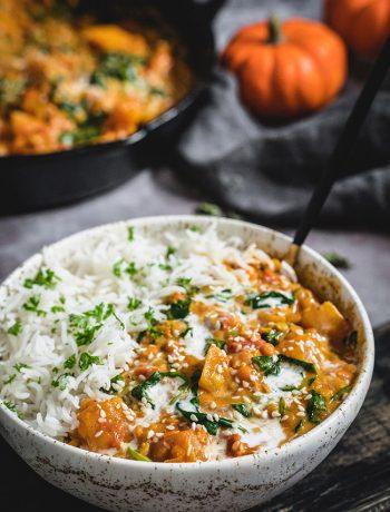 Bowl of pumpkin lentil curry