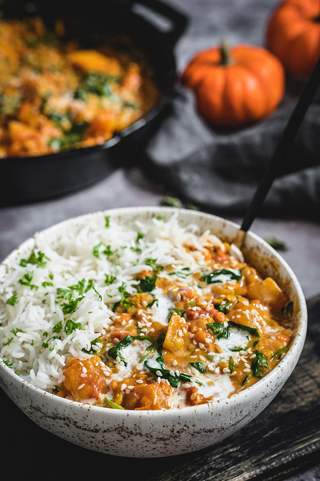 Bowl of pumpkin lentil curry