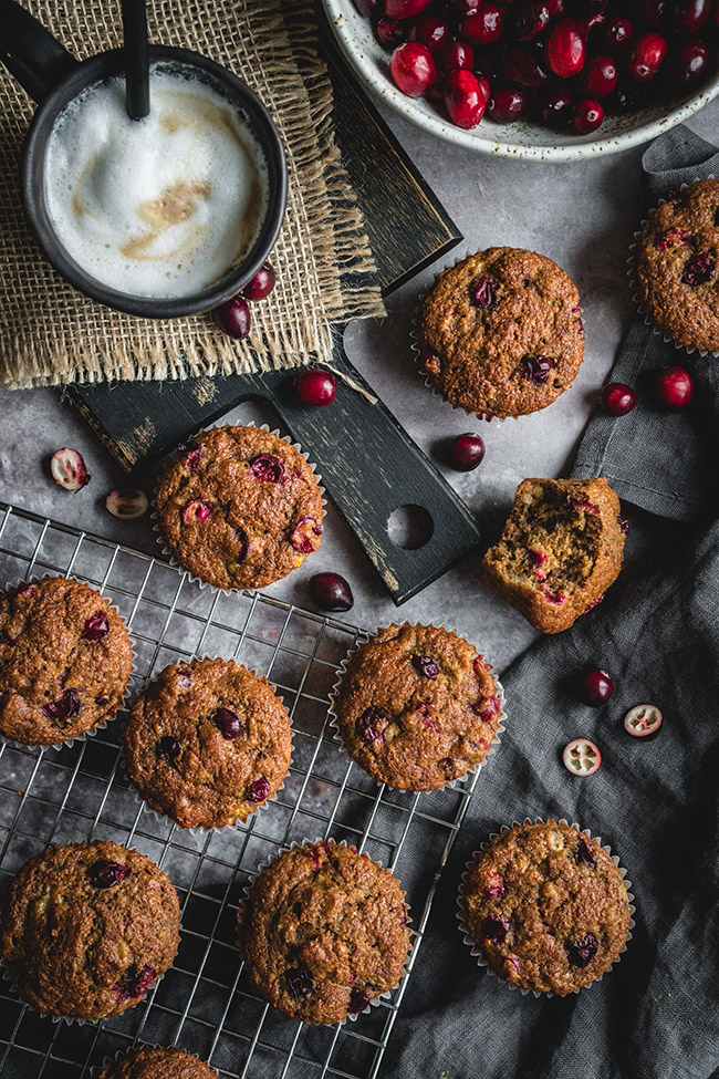 Banana cranberry muffins overhead