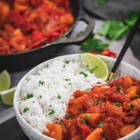 Bowl of bell pepper curry with rice