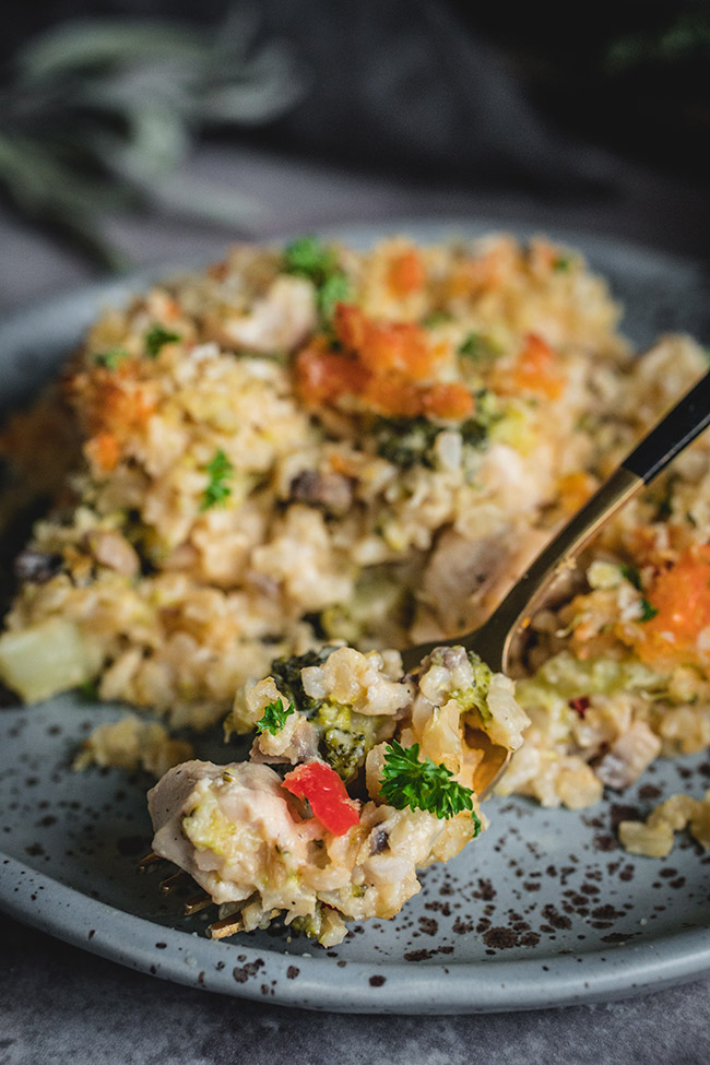 Spoonful of chicken and brown rice casserole
