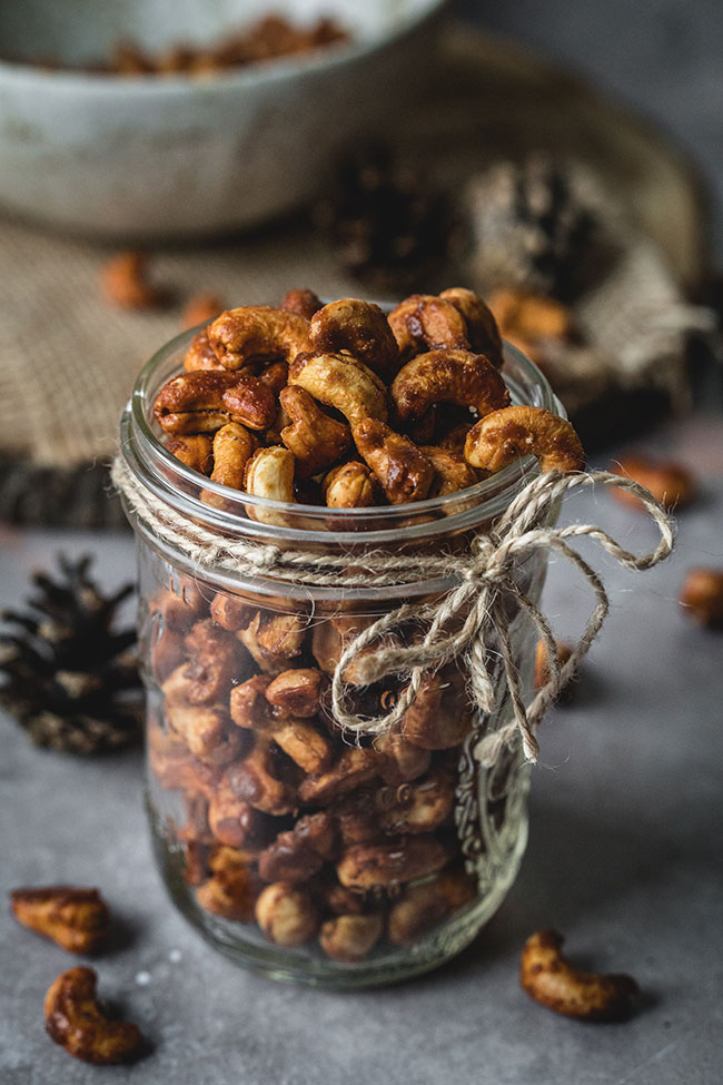 Honey roasted cashews in a jar
