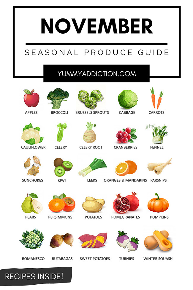 Vegetables and fruits in season in October