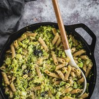 Pan of creamy romanesco pasta