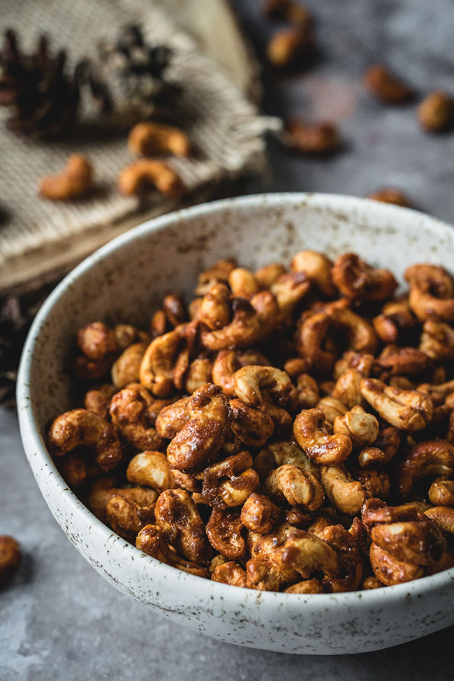 Sweet roasted cashews in a bowl