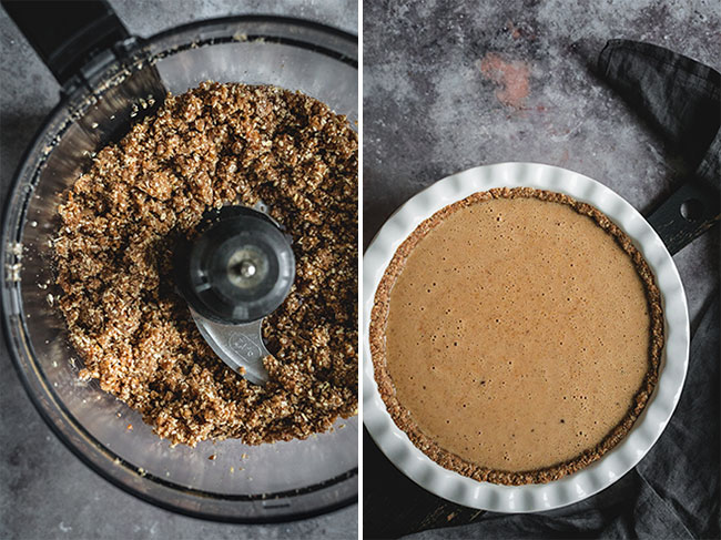 Making of an oatmeal, date, and pecan pie crust