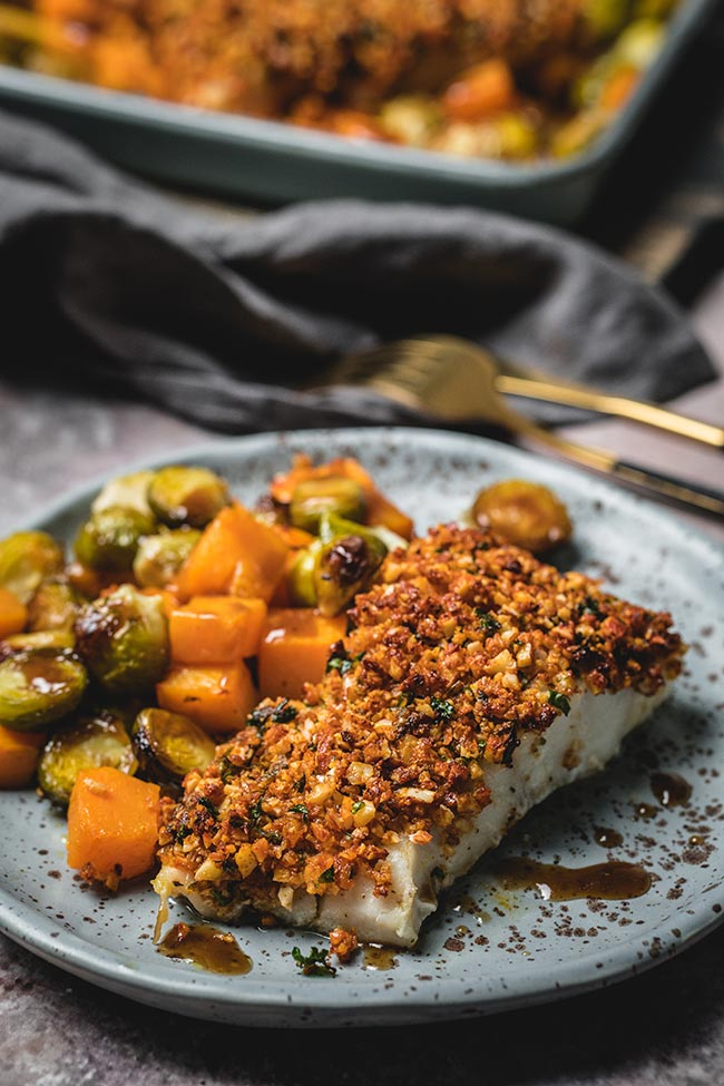 Almond crusted cod with roasted balsamic-drizzled brussels sprouts and butternut squash