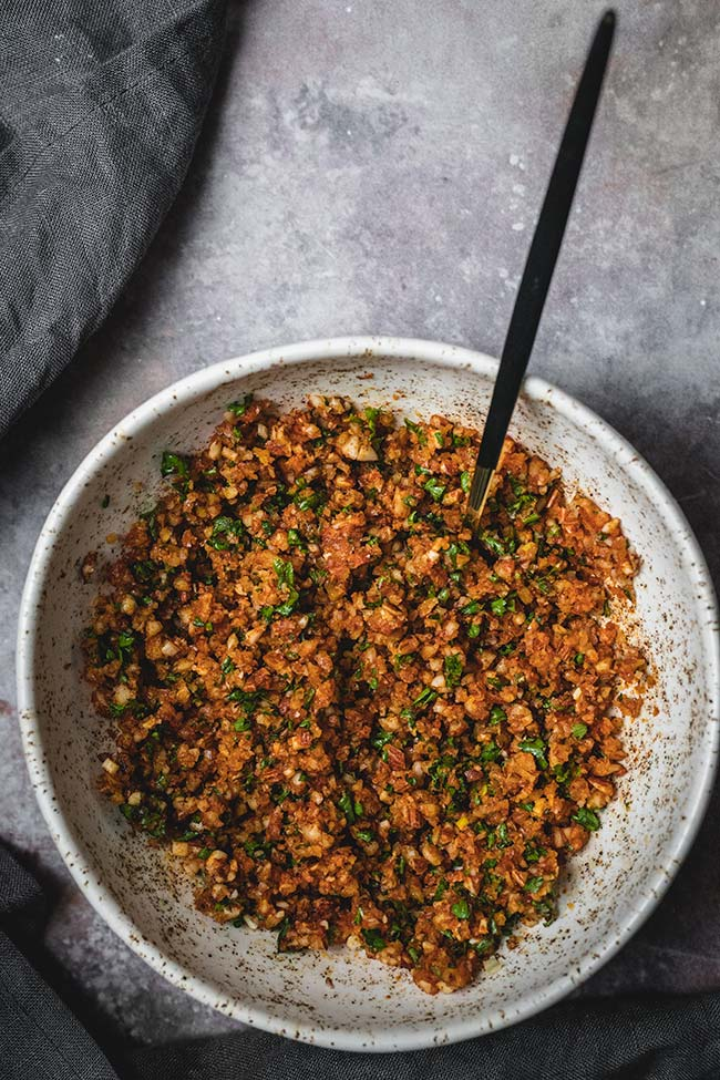 Almond, garlic, and fresh parsley mixture