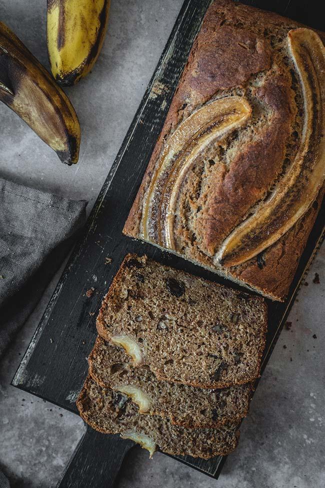 Sliced buckwheat flour banana bread overhead shot