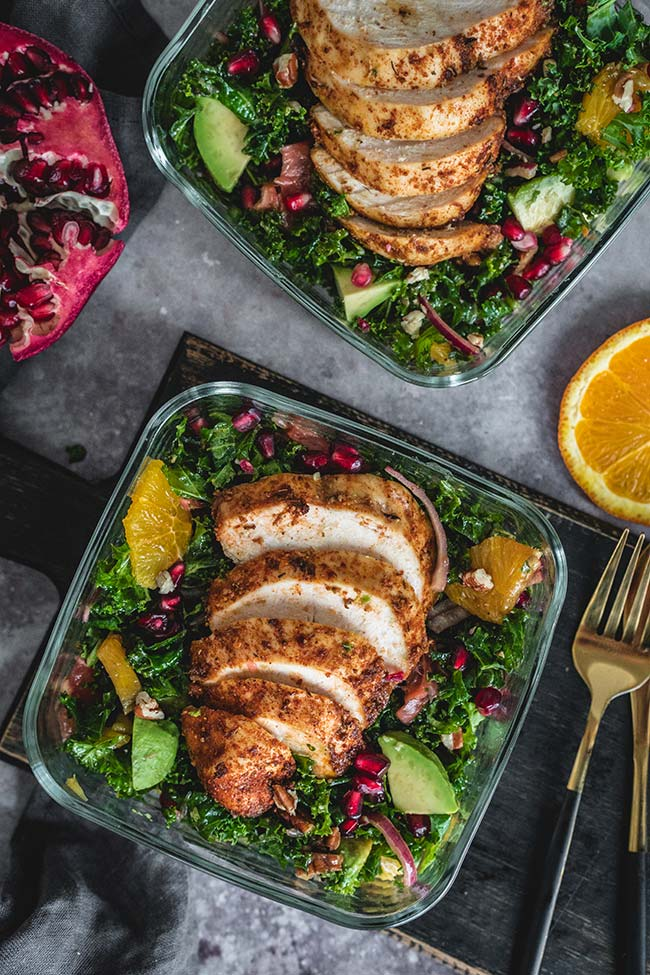 Cajun chicken salad in lunch boxes