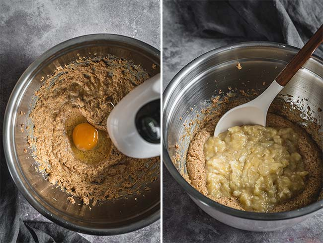 Mixing wet ingredients for a banana bread