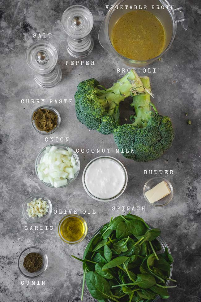 Ingredients for the broccoli coconut soup