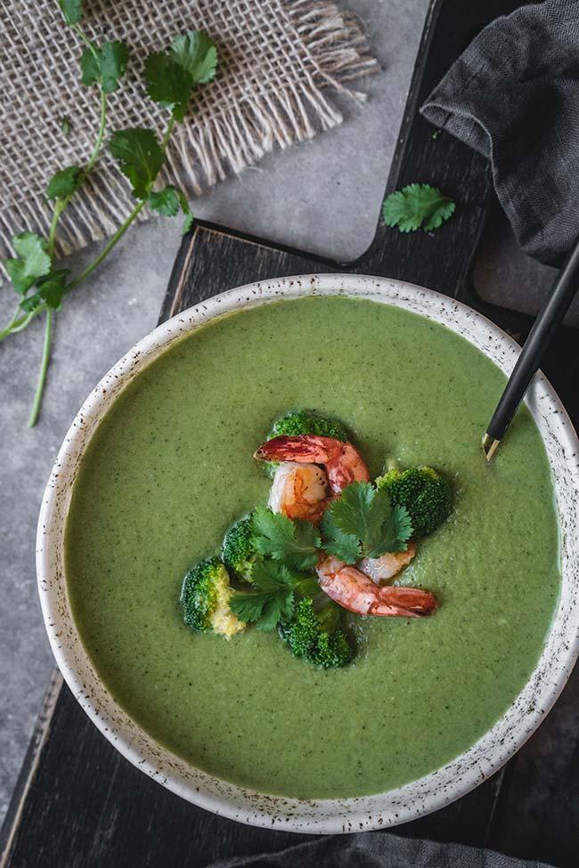 Curried broccoli soup overhead shot