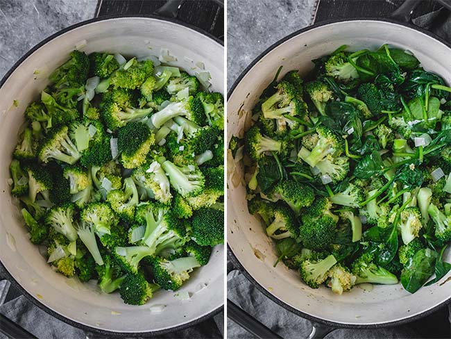 Cooking broccoli and spinach in a soup pot