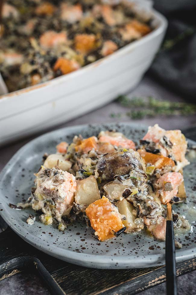 Creamy salmon and wild rice casserole on a plate