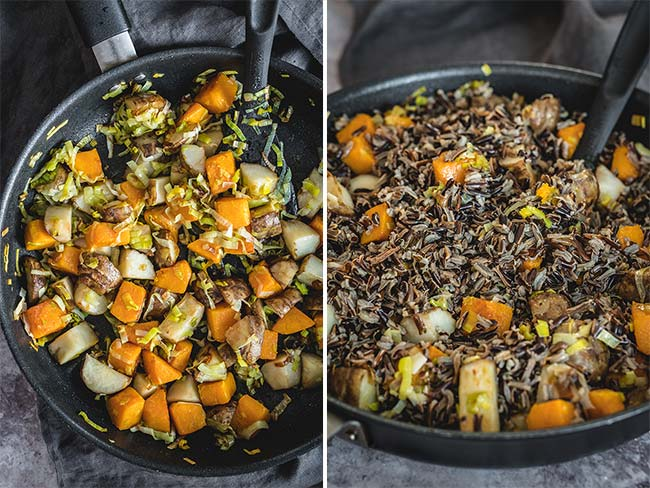 Frying vegetables in a pan and adding cooked wild rice
