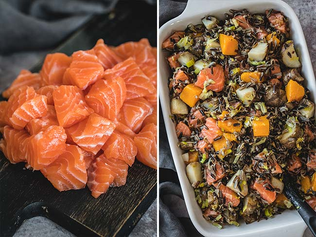 Adding raw salmon to a rice and vegetable casserole