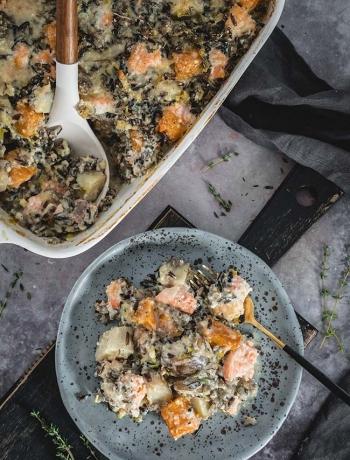Creamy Salmon and Wild Rice Casserole