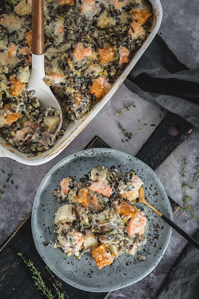 Salmon rice casserole on a plate overhead