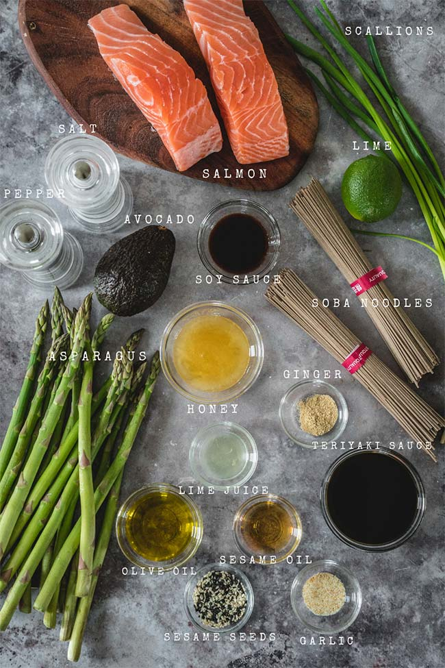 Ingredients for the teriyaki salmon soba noodle bowls