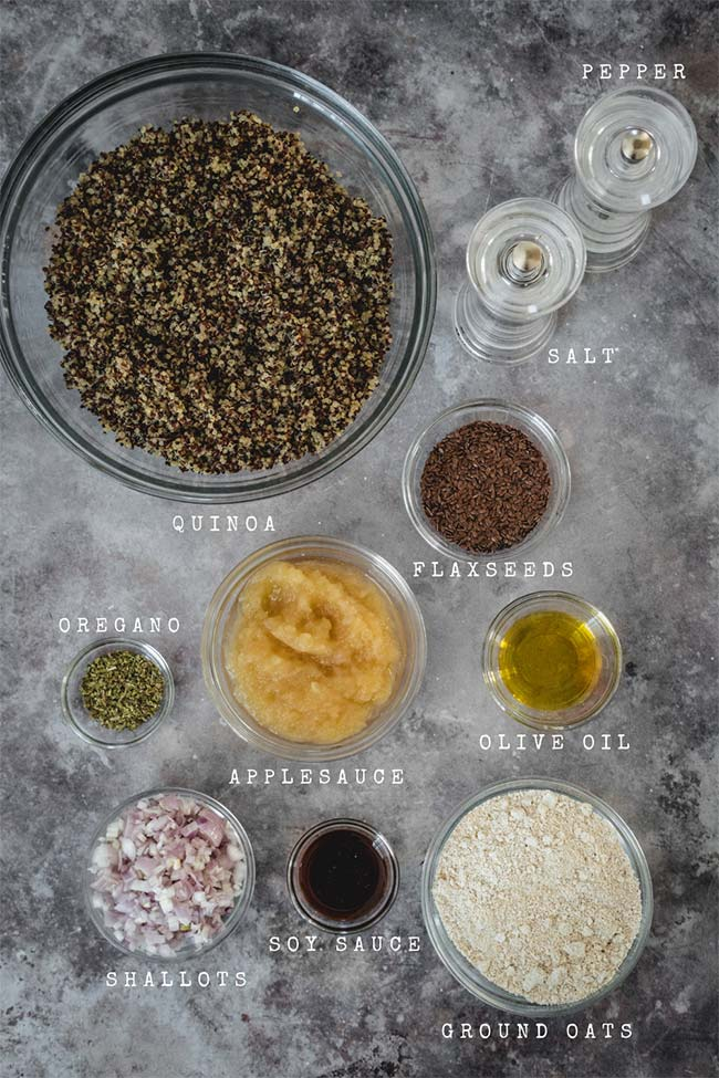 Ingredients for the vegan quinoa cakes