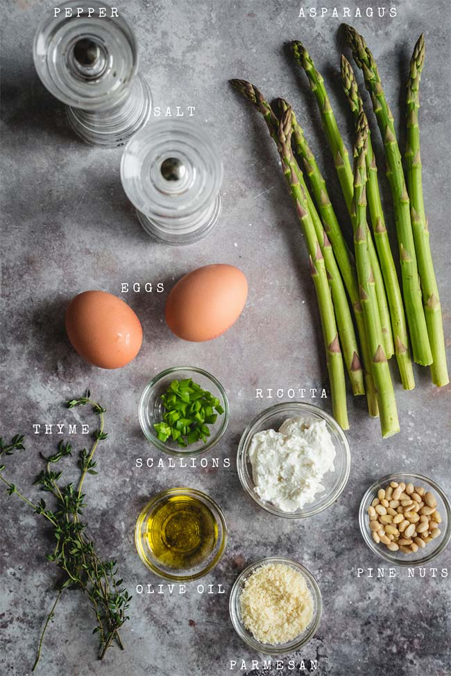 Ingredients for an asparagus and ricotta omelet