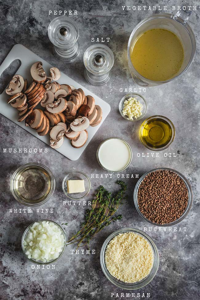 Ingredients for buckwheat mushroom risotto