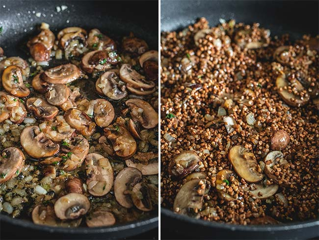Buckwheat groats with mushrooms in a skillet