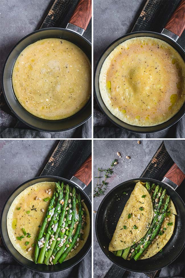 The step by step process of making an asparagus omelette