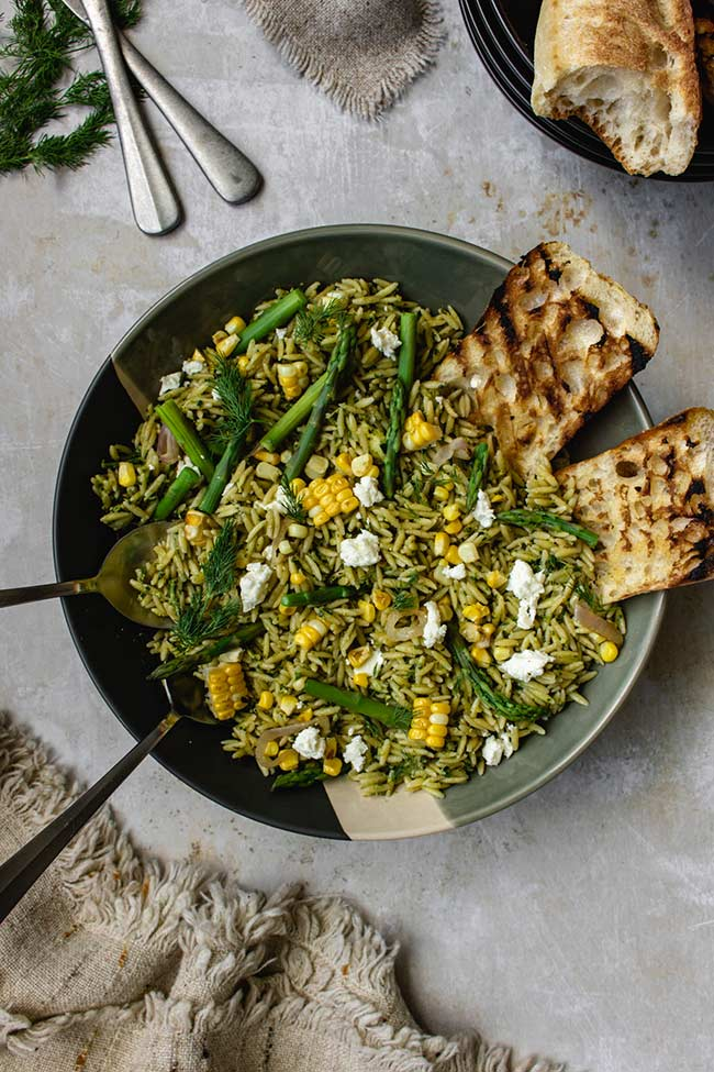 Orzo Salad with Kale Walnut Pesto, Corn, and Asparagus