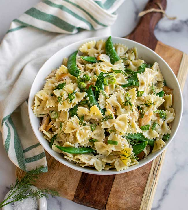 Smoked Trout and Snap Pea Pasta Salad