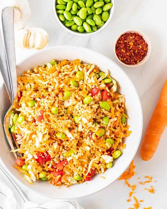 Vegan Asian Brown Rice Salad