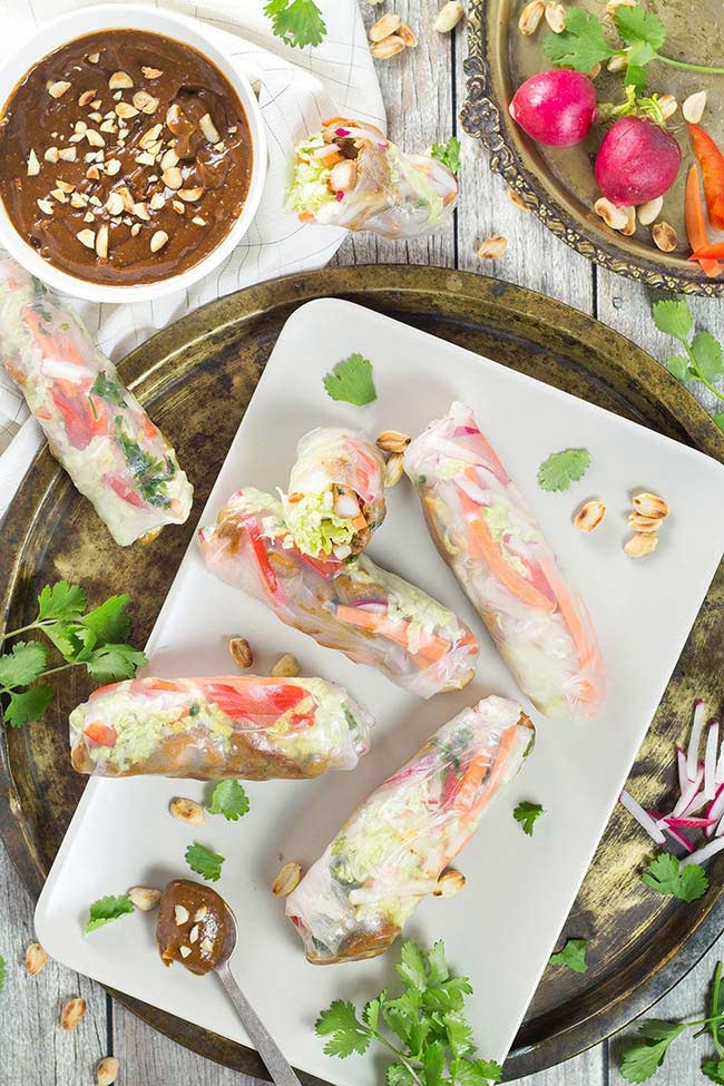 Chicken Rice Paper Rolls with Peanut Dipping Sauce