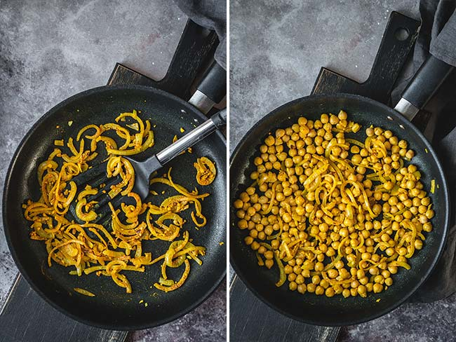 Frying onion and chickpeas in a skillet