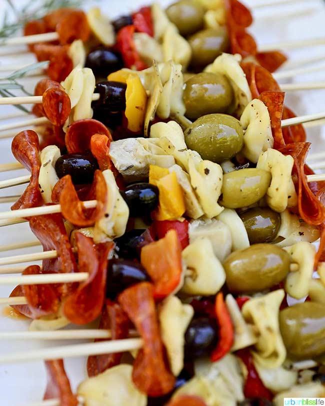 Antipasto Skewers, Easy Party Appetizers